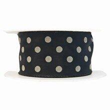 Black and grey polka dot ribbon (1.5in)