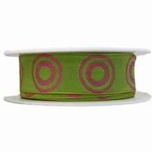 Ruban cercles roses sur vert (25mm)