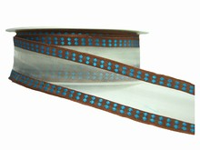 Sheer Brown and Blue Ribbon (1.5in)