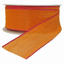 Orange Ribbon with Metallic Pink Trim (1.5in)