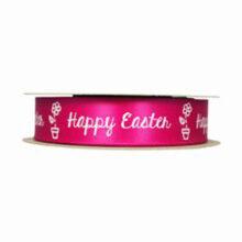 """Happy Easter"" Fuchsia Ribbon (1in)"