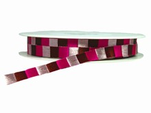 Light Pink, Fuchsia and Brown Checkered Ribbon (0.5in)