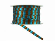 Ruban cordelette marron et turquoise (10mm)