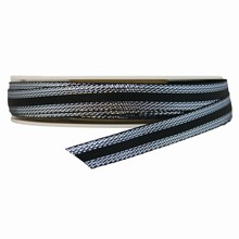 Ruban noir bordure argentée (10mm)
