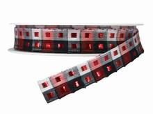 Ruban rouge, blanc et noir Carréauté (15mm)