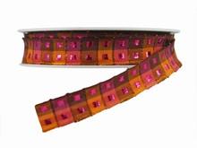 Ruban Carréauté orange et rose (15mm)