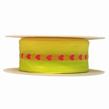 Fluorescent Yellow Ribbon with Pink Hearts (1.5in)
