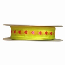 Fluorescent Yellow Ribbon with Pink Hearts (1in)