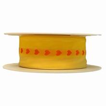 Ruban jaune coeurs orangées (40mm)