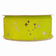 Citrus green ribbon with metallic silver stars (1.5in)