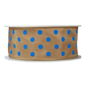 Ruban beige pois bleu 40mm