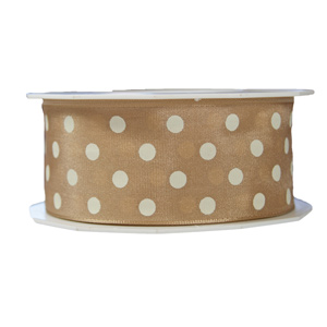 Beige ribbon with white polka dots 1.5in