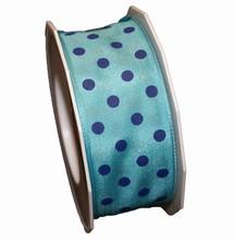 Ruban bleu avec pois marine (40mm)