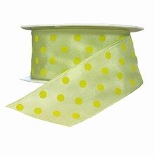 Honeydew melon ribbon with yellow polka dots (1.5in)