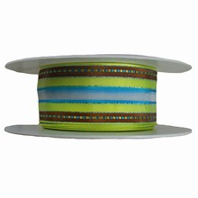 Lime green, turquoise and brown striped ribbon (1.5in)