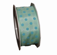 Mint green ribbon with blue polka dots (1.5in)
