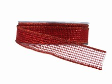 Ruban macramé Carréauté rouge scintillant (25mm)