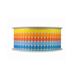 Blue, Orange and Yellow Egg Print Ribbon (1.6in)