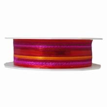 Sheer Metallic Fuchsia Striped Ribbon (1in)