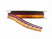 Woven Orange, Yellow, Pink and Brown Ribbon (0.5in)