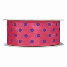 Pink ribbon with violet polka dots (1.5in)