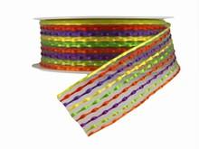 Woven Purple, Orange, Yellow and Green Ribbon (1.5in)