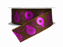 Purple and Brown Christmas Ornaments Ribbon (1.5in)