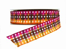 Pink, Brown and Orange Plaid Wired Ribbon (1in)