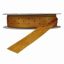 Ruban or avec carrés bourgogne réversible (10mm)
