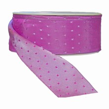 Magenta reversible with lilac squares ribbon (1.5in)