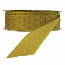 Ruban kaki avec carrés bourgogne réversible (25mm)