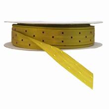 Ruban kaki avec carrés bourgogne réversible (10mm)
