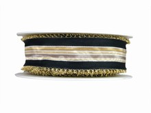 Black and Gold Ribbon with Gold Wire Picots (1.5in)