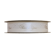 """""""Thank You"""" Ribbon Silver and White (1in)"""