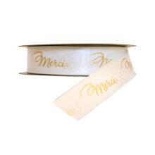 """""""Merci"""" Ribbon Gold and White (1in)"""