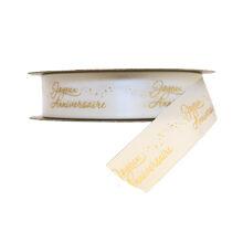 """Joyeux Anniversaire"" Ribbon Gold on White (1in)"