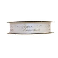 """Joyeux Anniversaire"" Ribbon Silver on White (1in)"