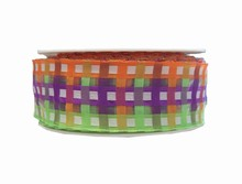 Purple, Lime and Orange Plaid Wired Ribbon (1.5in)