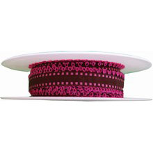 Brown Ribbon with Hot Pink Picots (0.5in)
