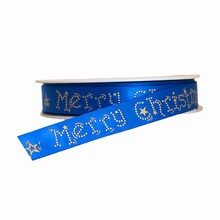 """Blue """"Merry Christmas"""" Ribbon (0.5in)"""