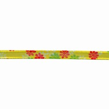 Sheer yellow ribbon with floral motif (0.3in)