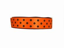 Orange Ribbon with Brown Polkadots (1 in)
