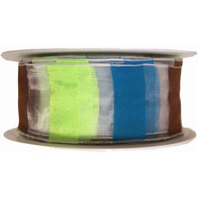 Sheer Ribbon with Multicolored Stripes
