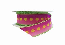 Pink Ombré Ribbon with Lime Green Picots (1.5in)