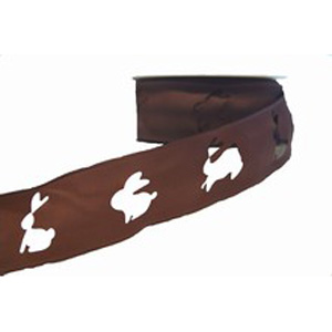Brown Easter Bunny Ribbon (1 5/8in)