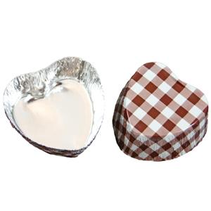 Caissettes métalliques coeur vichy marron (200u.)