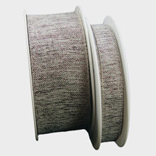 Linen ribbon, with metallic Prune threads.