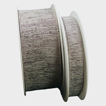 Ruban en lin avec fils prune métalique