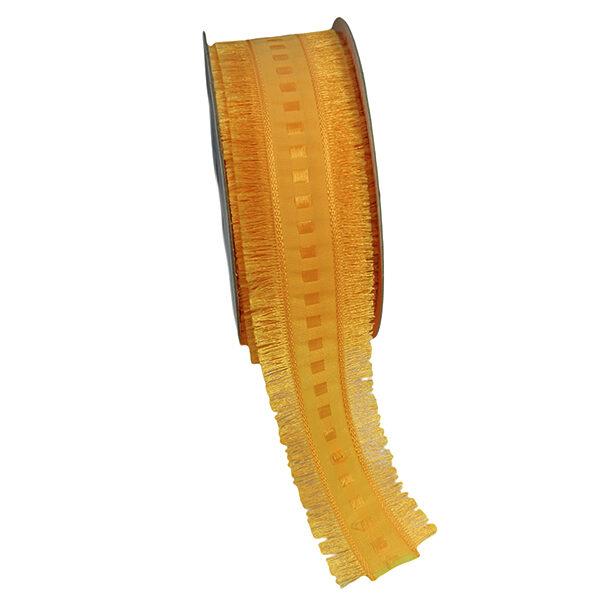 Ruban orange, damier, avec frange