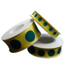 Ruban jaune cercles turquoise